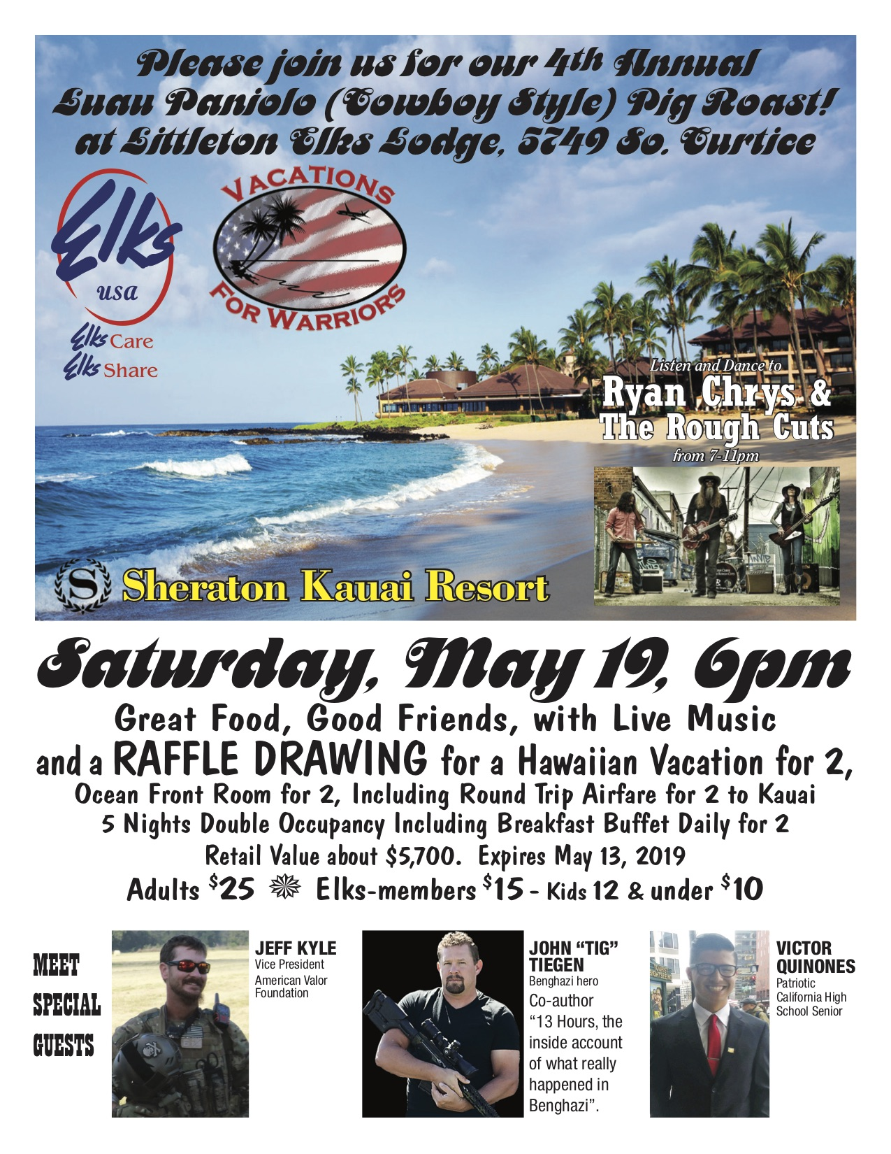 Vacation for Warriors - 4th Annual Luau @ Littleton Elks | Littleton | Colorado | United States