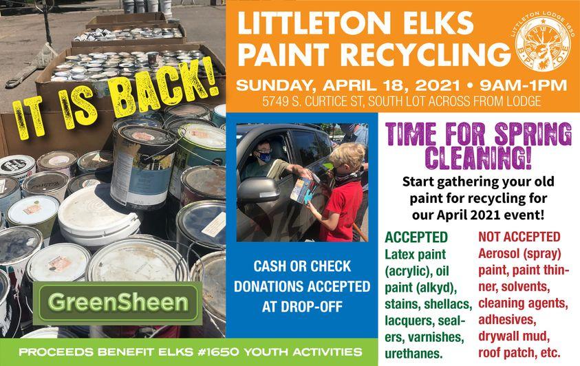 Paint Recycling @ Littleton Elks Lodge South Parking Lot | Littleton | Colorado | United States