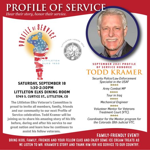 Profile of Service - Hear Their Story Honor Their Service @ Littleton Elks Lodge 1650   Littleton   Colorado   United States